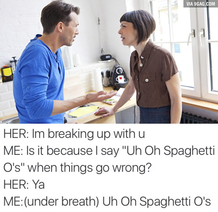 a woman getting mad at her spouse over spaghetti o's